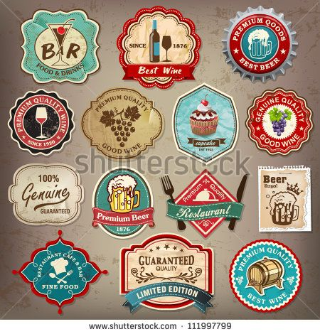Collection of vintage retro grunge wine, beer, restaurant cafe and ...