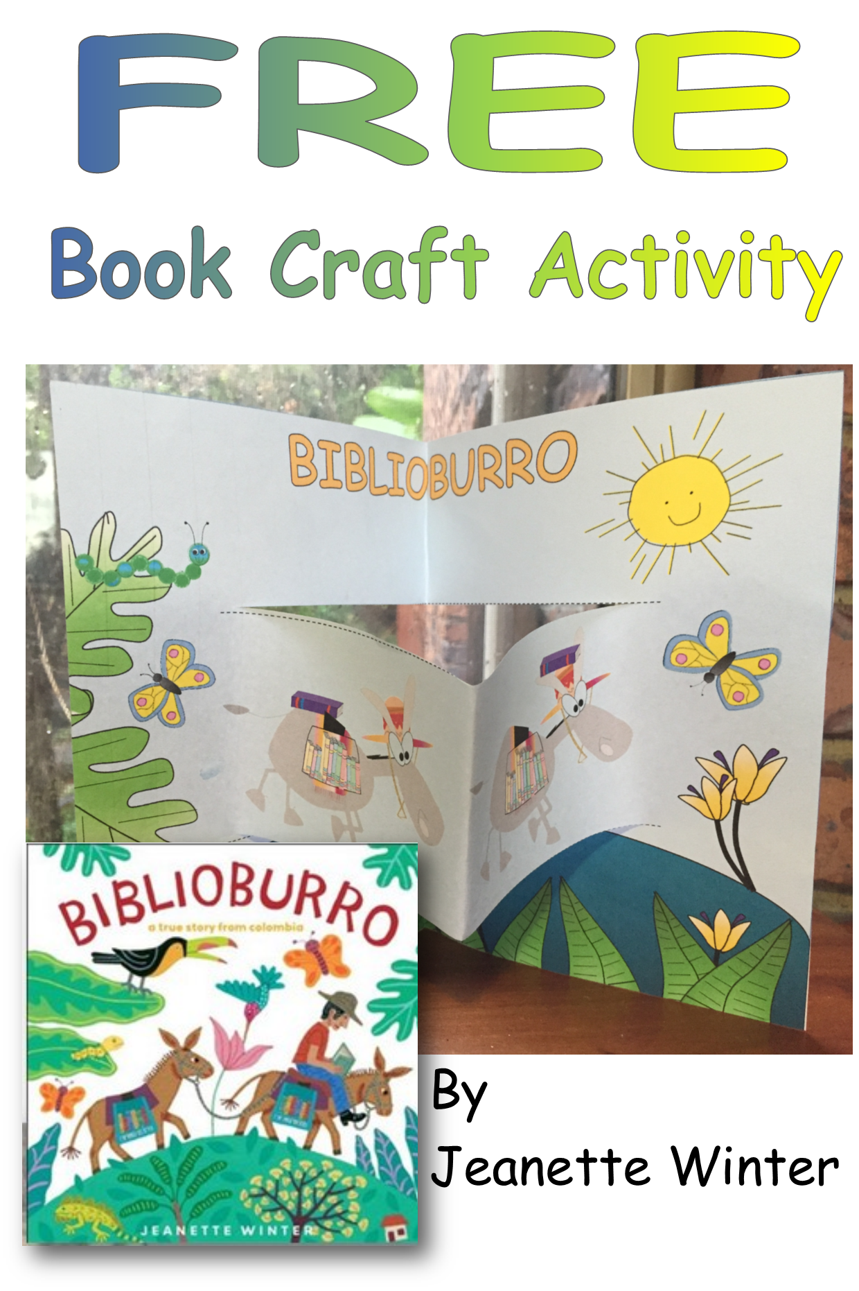 Free Book Craft Activity Biblioburro Donkey Library Is A Book Written By Jeanette Winter