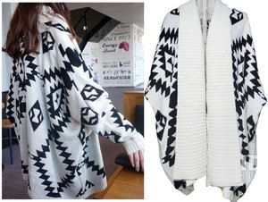 Womens Aztec Oversized Open Front Loose Sweater Jacket Wrap Cape ...