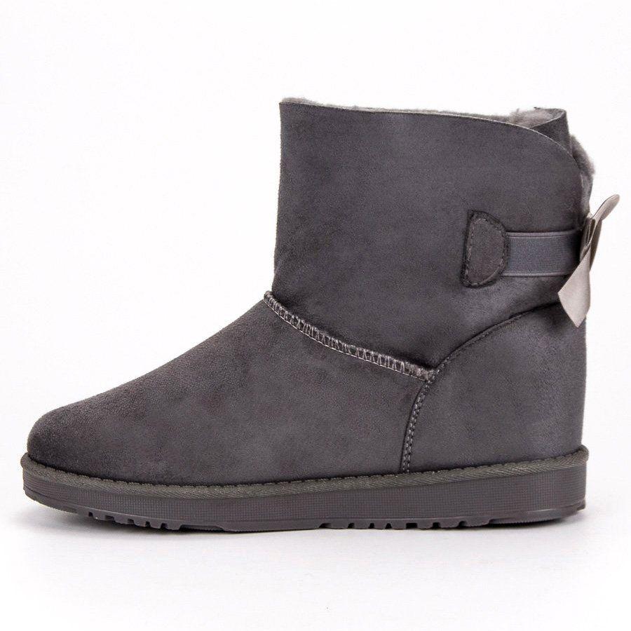 Queentina Szare Mukluki Z Kokardka Bearpaw Boots Ugg Boots Boots