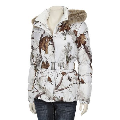 NorthCrest Women s Realtree Snow Camo Belted Printed Polyfill Jacket   Realtreecamo c55bbb004
