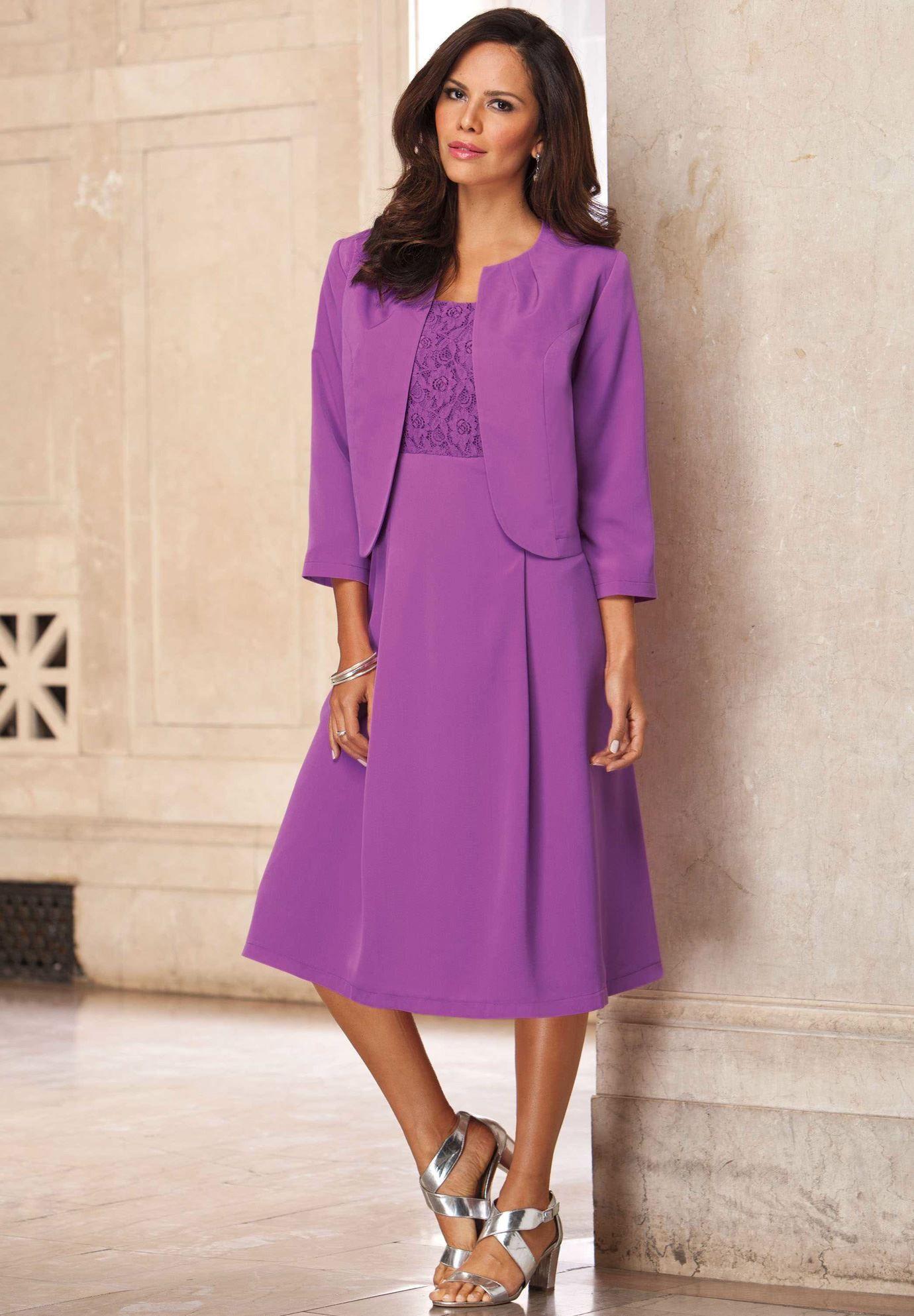 Bolero Jacket Dress | Plus Size Summer Wedding | Roamans | mother of ...