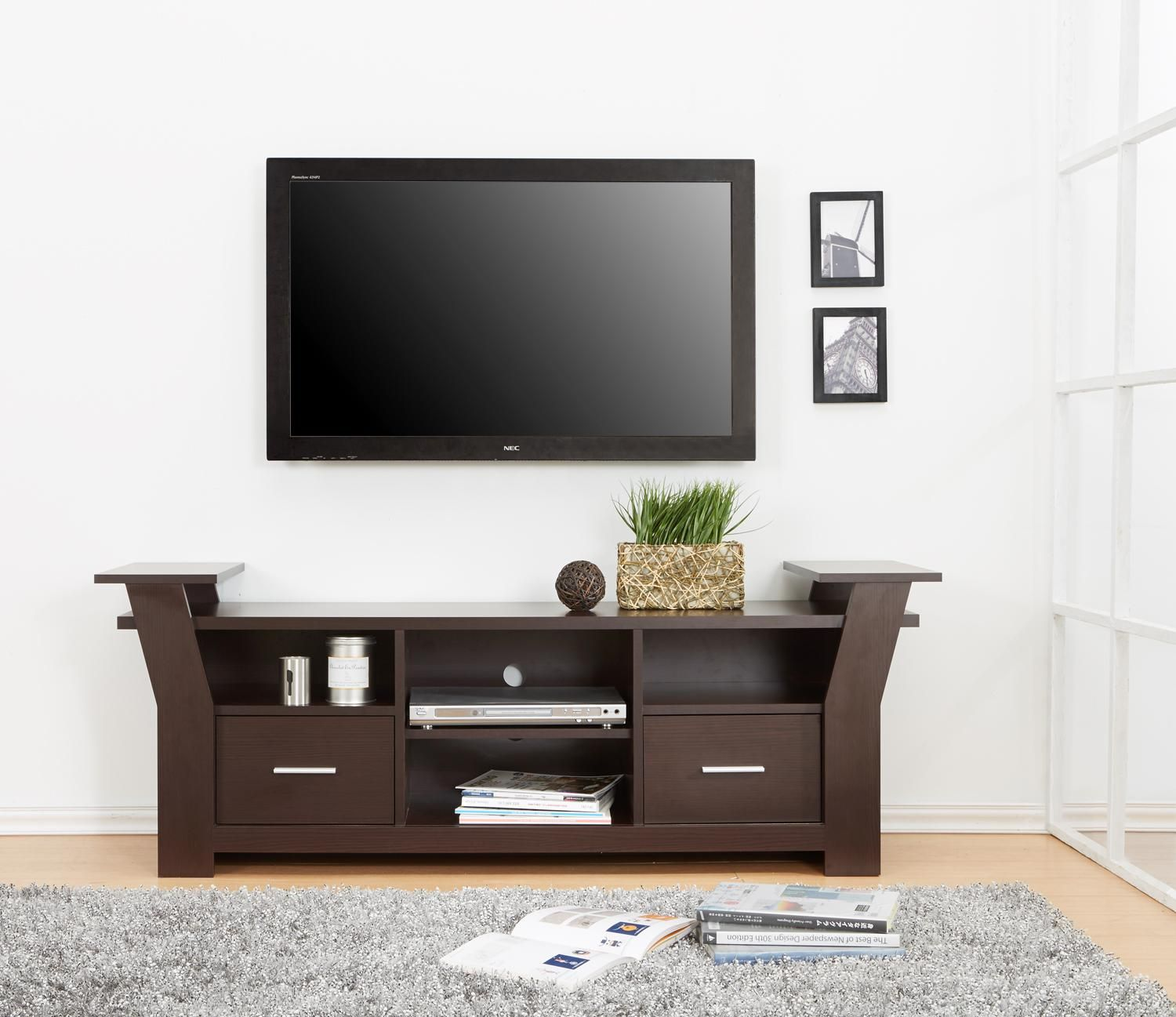 Enitial Lab Torena Multi Storage TV Stand Walnut