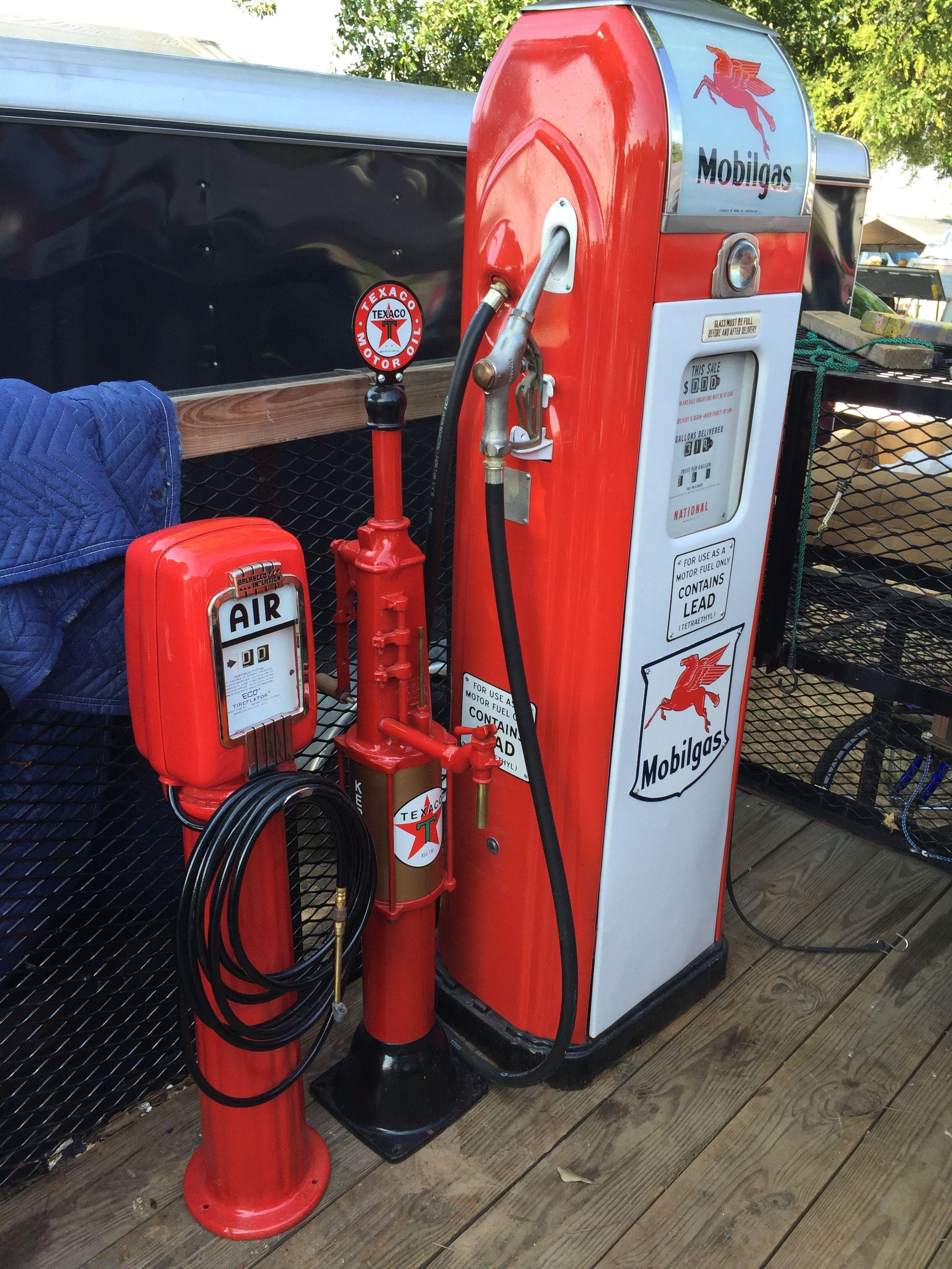 Mobile pump, Texaco air compressor, and vintage kerosene