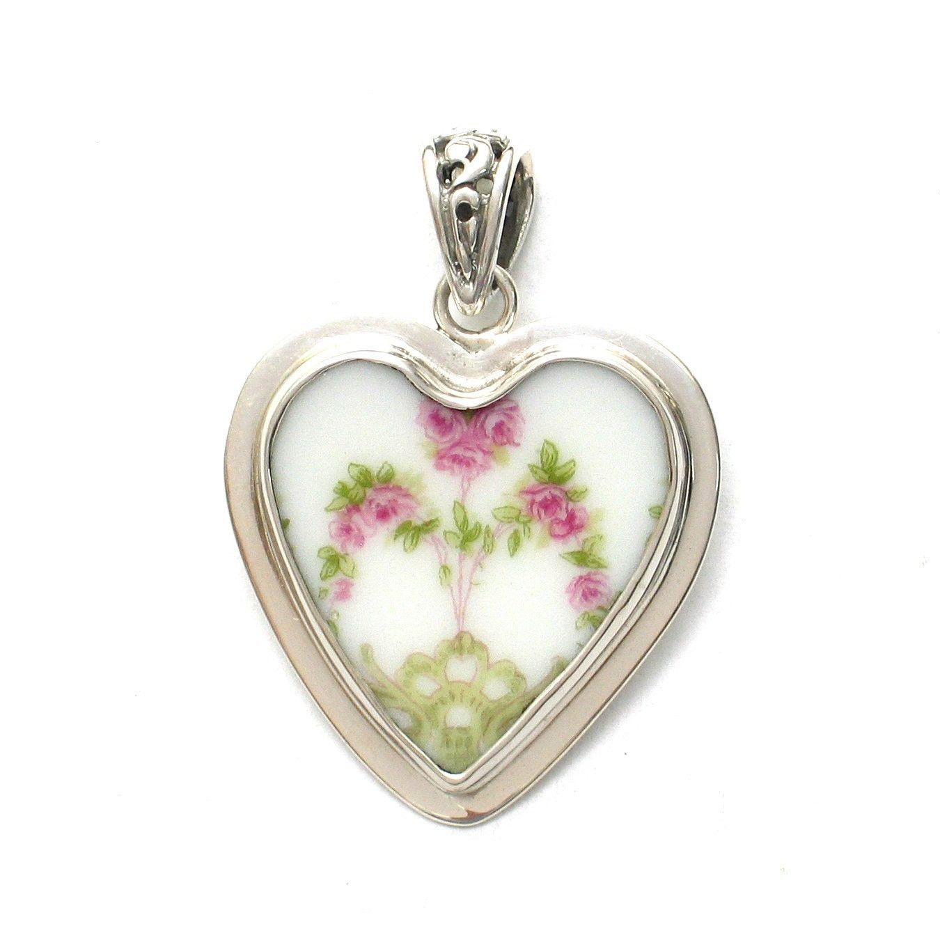 Broken China Jewelry Pink Rose Garland Stelring Heart Pendant