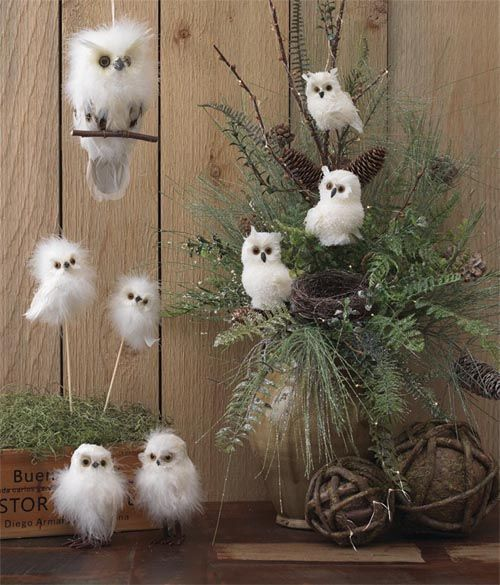owlchristmasdecor  RAZ 6 White Fuzzy Owl on a Perch Hanging