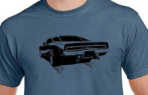 Dodge Charger, Classic car, Turbo, street machines, Muscle cars, Mens Indigo Blue, 100% cotton light weight summer Tshirt