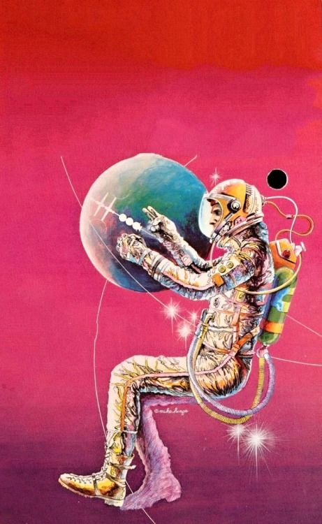 MIKE HINGE - art for Secret of the Marauder Satellite by Ted White -1978 Berkley Medallion