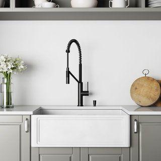 Vigo 30 Inch Crown Apron Front Matte Stone Farmhouse Kitchen Sink Farmhouse Sink Kitchen Stone Farmhouse Kitchen Sinks Single Bowl Kitchen Sink