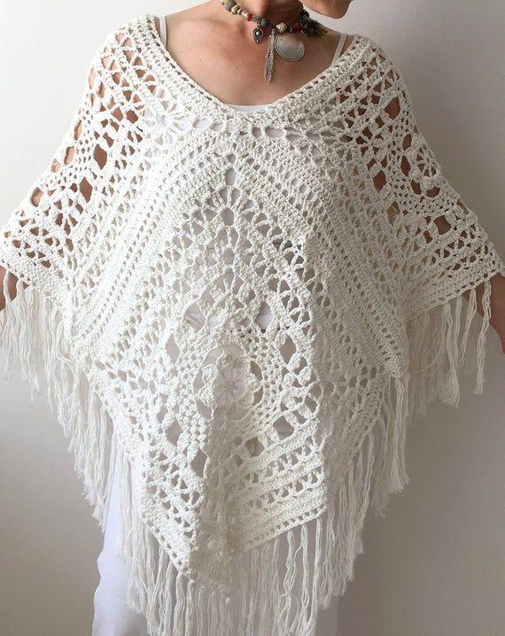 Summer poncho cotton poncho ivory poncho boho poncho boho | Etsy #grannysquareponcho