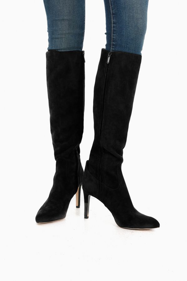 Black Suede Olencia Knee High Boots in