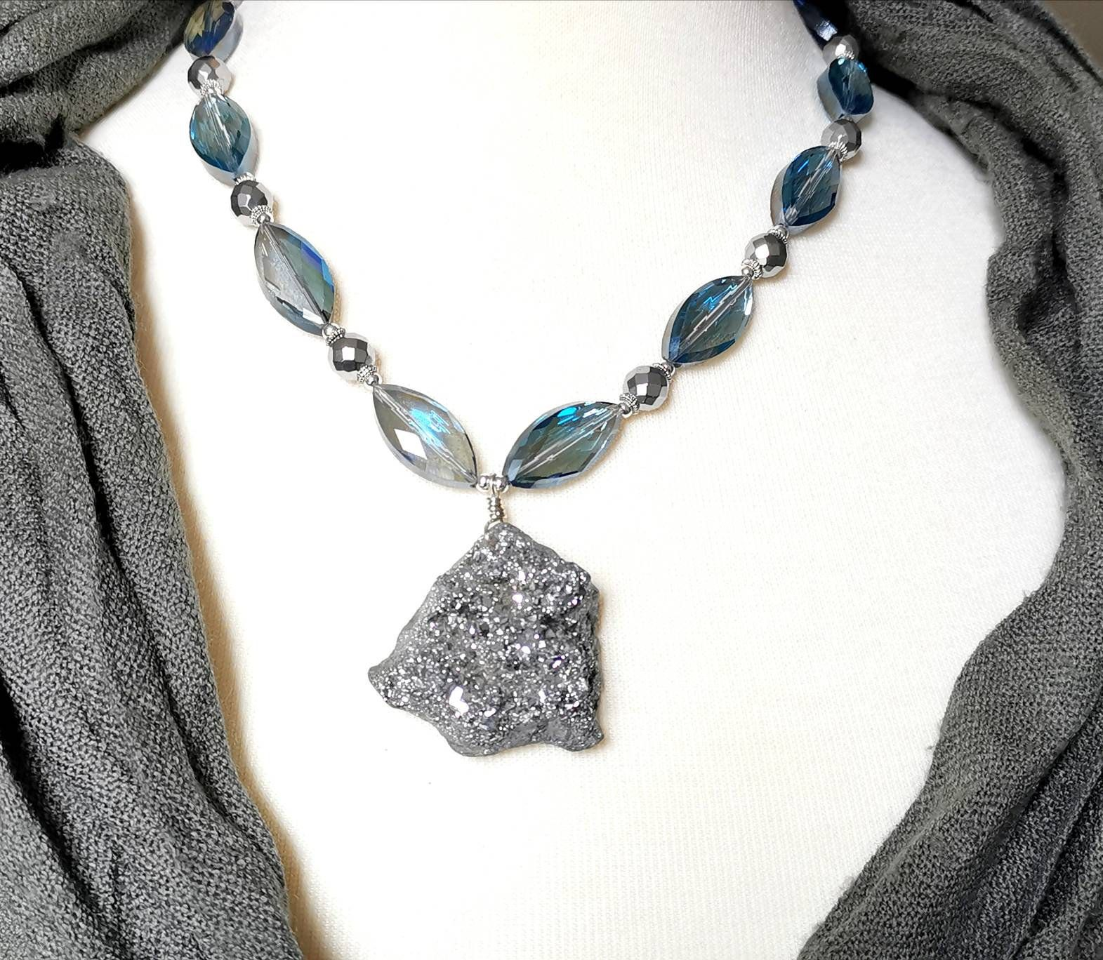 Necklace of titanium coated quartz and crystal beads with matching earrings