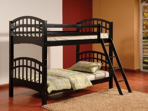 Kings Brand B126B Wood Arched Design Convertible Bunk Bed Twin Black ...