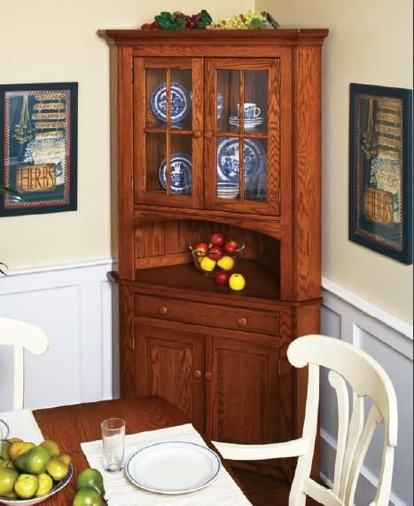 Amish Shaker 2Door Corner Hutch  Corner Hutch Solid Oak And Delectable Corner Dining Room Hutch Decorating Inspiration