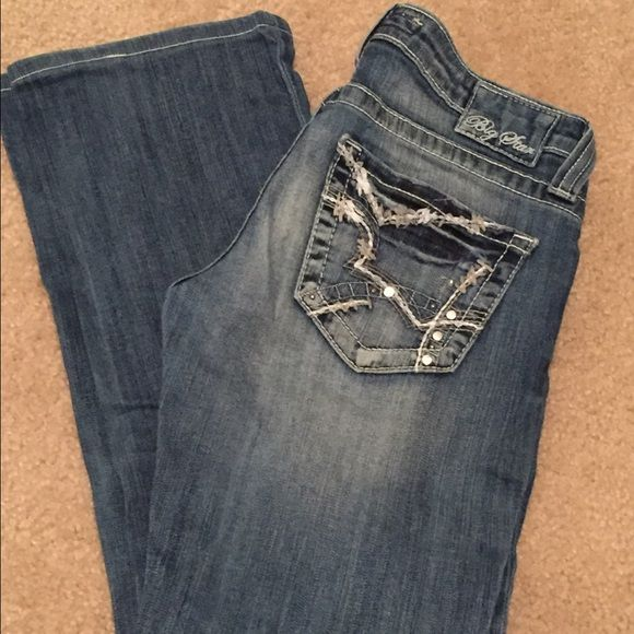 """Big Star Jeans Ultra Low Rise Boot Cut 27 S Short Big Star Jeans Ultra Low Rise Boot Cut 27 S Short; 26"""" inseam, worn only a few times like new condition! Hems are perfectly clean and damage free ! Very well taken care of jeans, will come to you as if you bought it at the store ! Bundle to save $$$!!! Big Star Pants Boot Cut & Flare"""