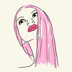 Fashion woman in pink lip and long hair