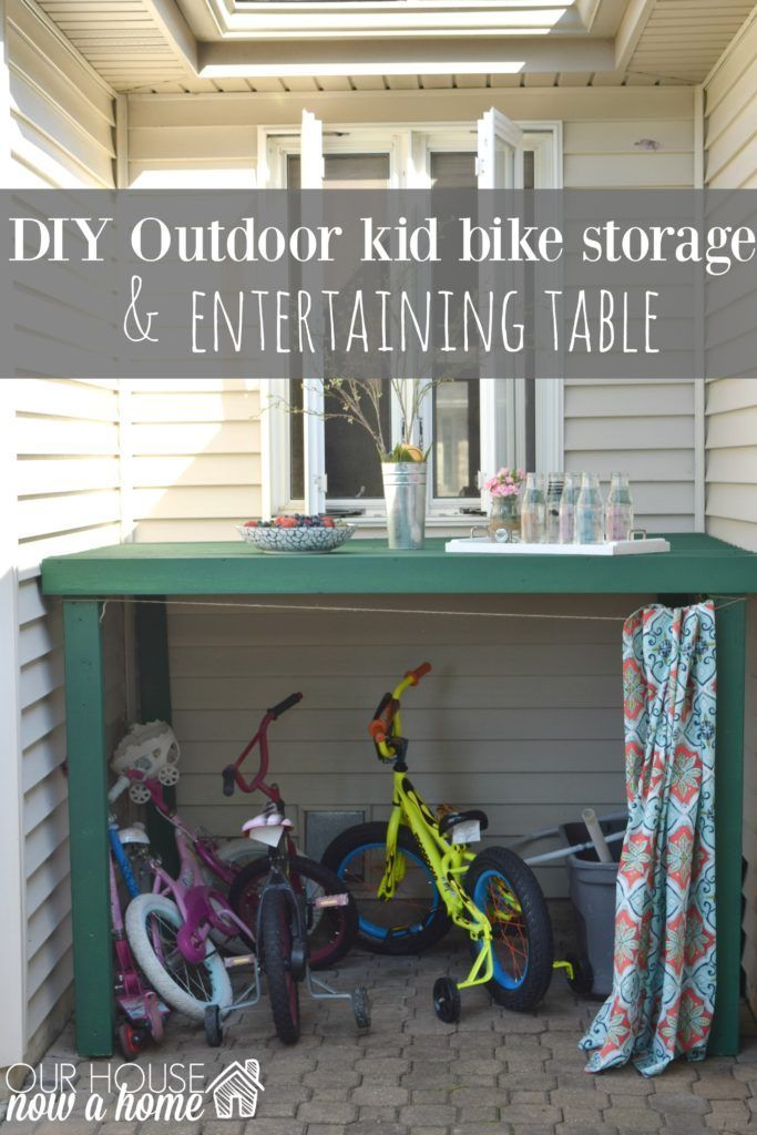DIY Outdoor Bike Storage, How To Hide Outdoor Kids Toys With This Simple  DIY Project