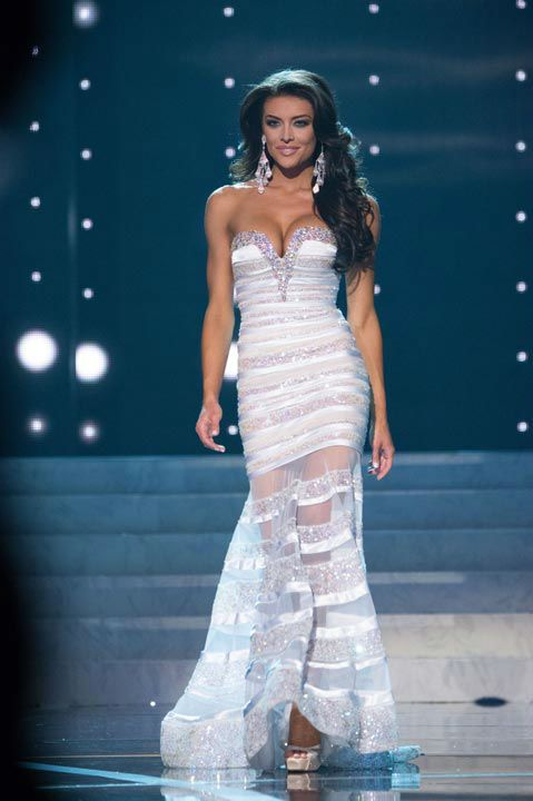 Miss Utah USA 2013, Marissa Powell, competes in her evening gown ...