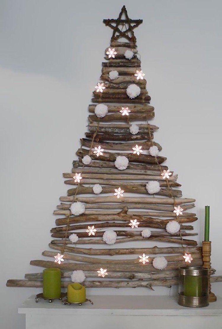 Sapin de Noël en bois rustique en 35 alternatives au sapin ...