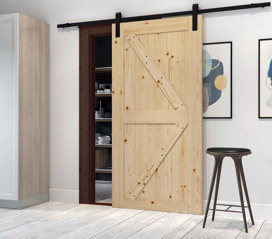 Paneled Wood Finish Prehung Barn Door With Installation Hardware Kit Barn Style Sliding Doors Barn Door Interior Barn Doors