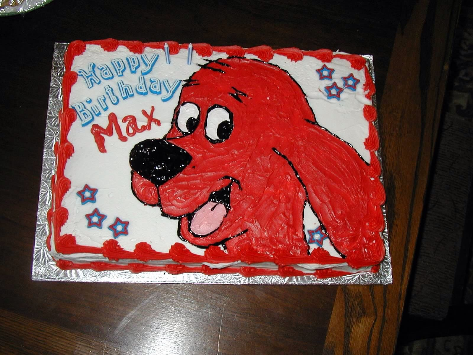 Clifford the Big Red Dog on a big cake! I used craft brushes to ...