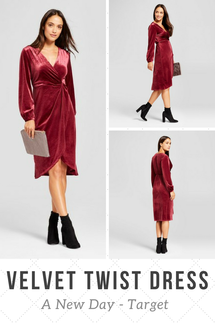 20c1f6087b Burgundy velvet twist front dress by A New Day from Target