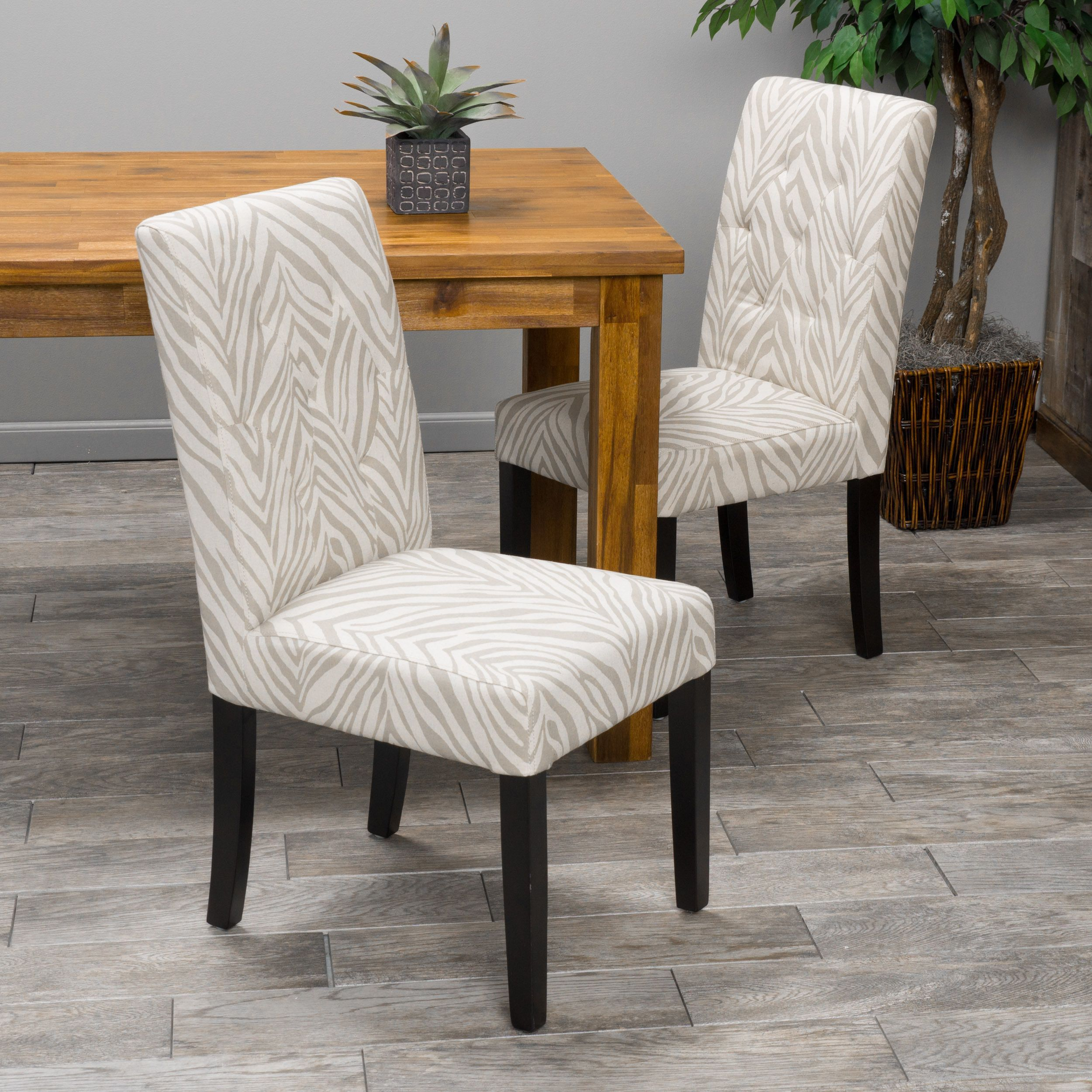 Gentry zebra print fabric dining chair set of by christopher