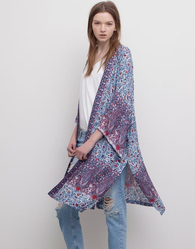 Bohemian Hindu La Línea Más Hippie De Pull Bear Primavera Verano 2015 Moda Kimono Kimono Largo Traje De Kimono