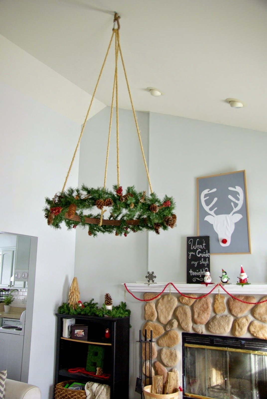 Our house, now a home: Ceiling hanging Christmas wreath #featured ...
