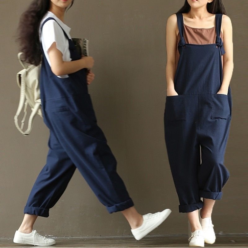 49e84c2ac267 UK 8-20 Women Casual Loose Jumpsuit Strap Dungaree Harem Trousers Overalls  Pants…