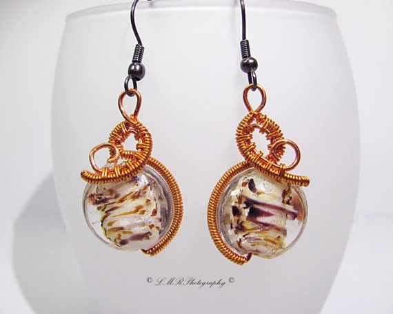 Wire Wrapped Earrings Brown and White Round Glass by LMRCreations2 #wirewrapped #earrings #etsy