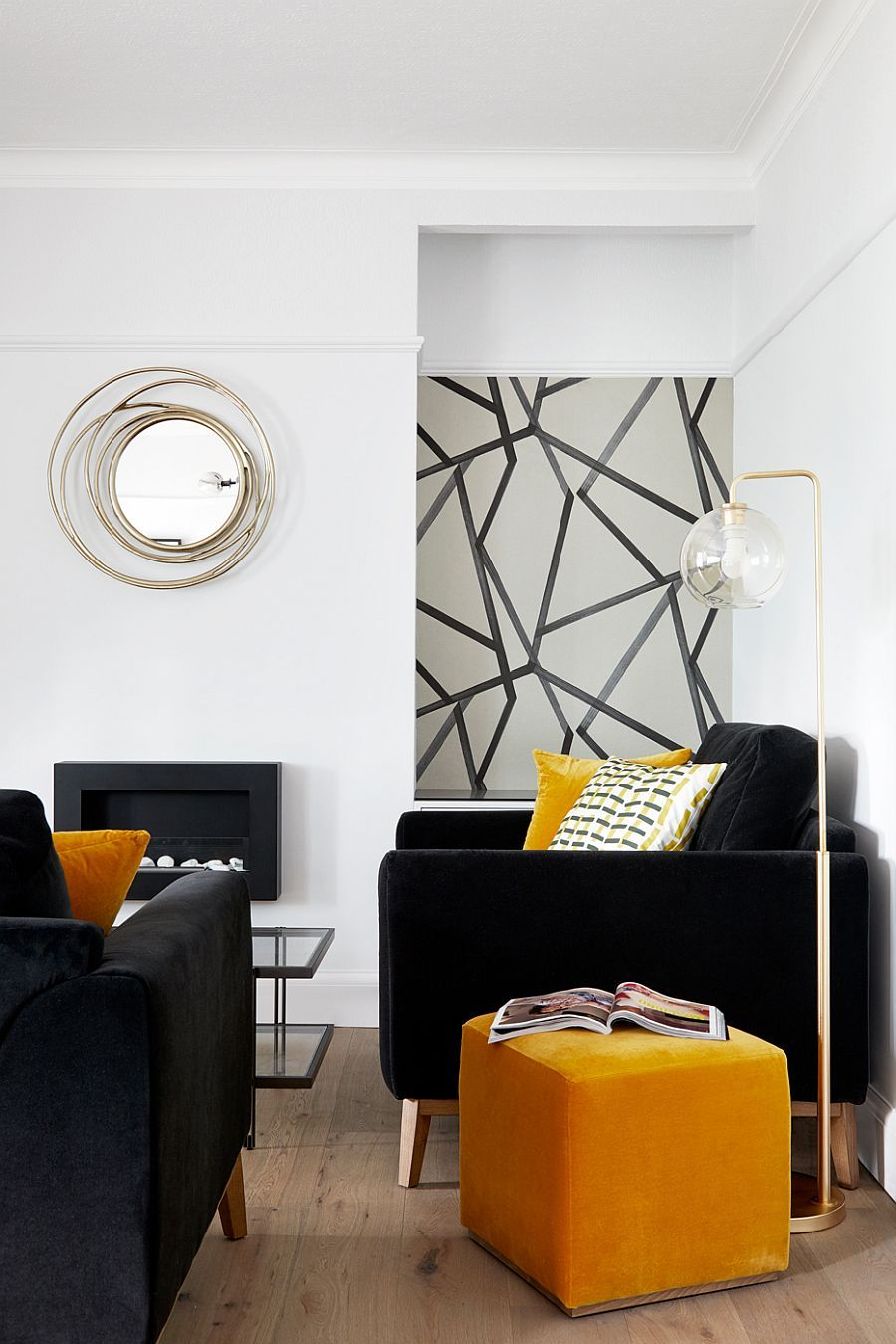 Black White And Brilliant Pops Of Yellow Revitalize Old Epsom Apartment In 2020 Living Room Yellow Accents Yellow Living Room Yellow Accent Walls #yellow #accent #wall #living #room