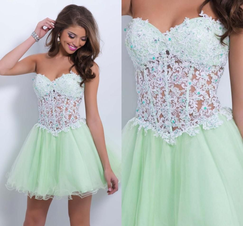 Sage Green Strapless Sweetheart Lace Bodice Short Homecoming Dress ...
