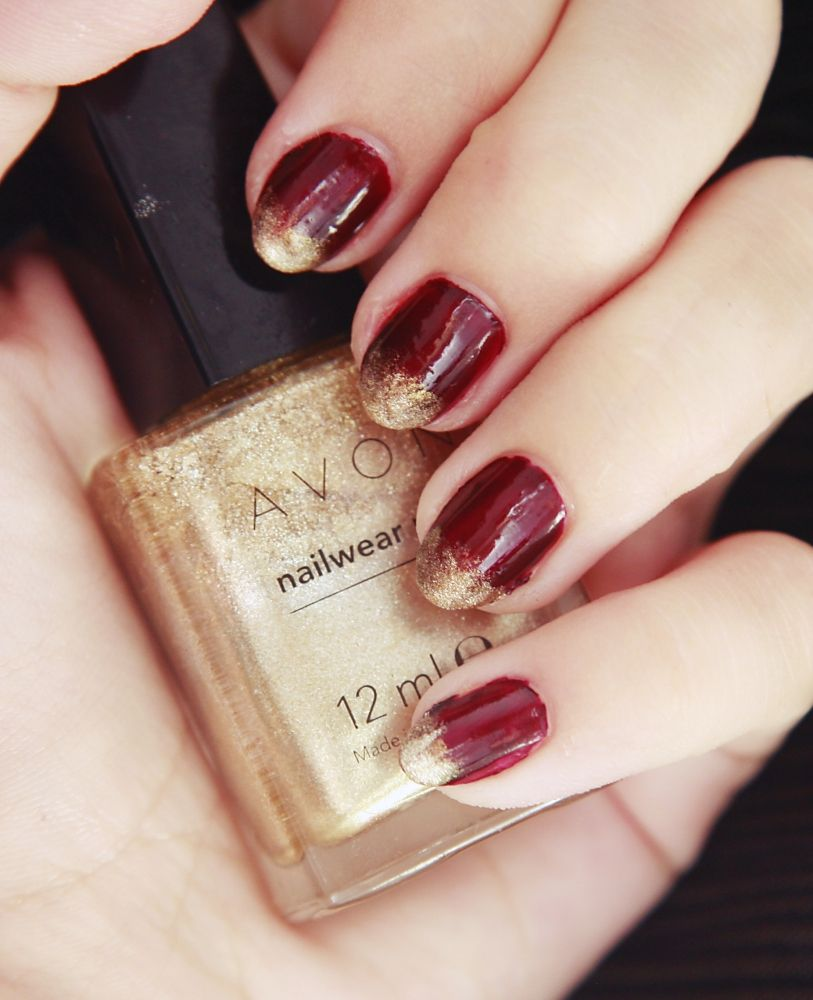 Dark burgundy nails with golden gradient for autumn/ fall | The ...