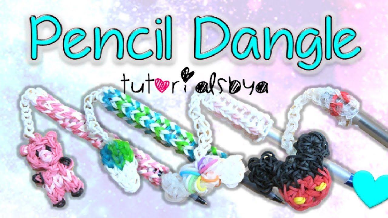 New Pen Pencil Dangle Topper Rainbow Loom Charm Tutorial How