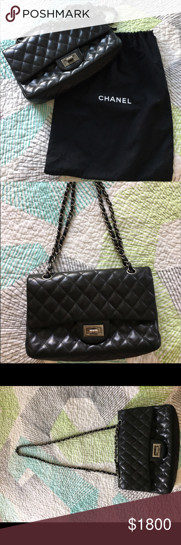 Chanel 2.55 reissue Chanel Classic Double Hybrid Reissue Flap Bag Quilted  Lambskin Medium. Gently worn. In excellent condition CHANEL Bags Shoulder  Bags 81d7784e016ee
