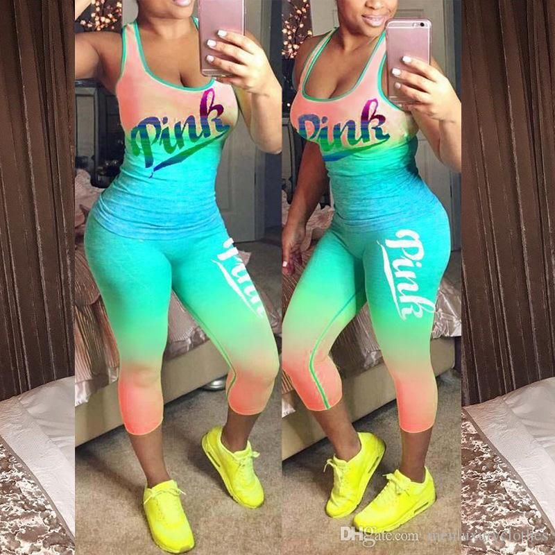 6e88c264ca 2019 Women PINK Sets Summer Sports Yoga Fitness Casual Tracksuits Vest Pants  Exercise Clothing Set From