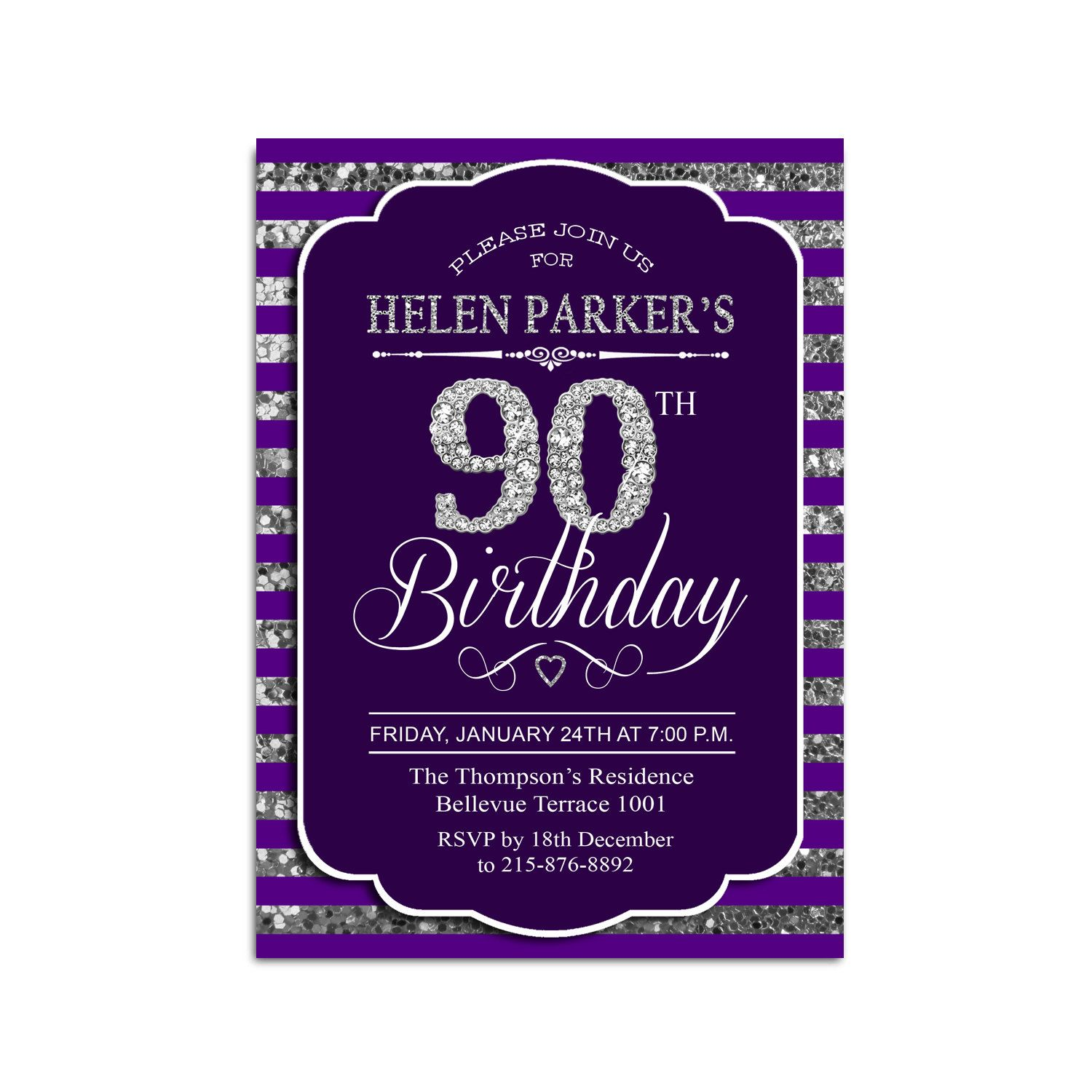 90th Birthday Invitation Any Age Diamonds Purple Silver