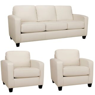 Sensational Bryce White Italian Leather Sofa And Two Chairs Overstock Beatyapartments Chair Design Images Beatyapartmentscom