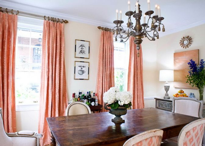 Love The Ikat Chairs With The Curtains Apricot Colored Curtains Peach Color Interior Dining Room Contemporary Dining Room Curtains Coral Room