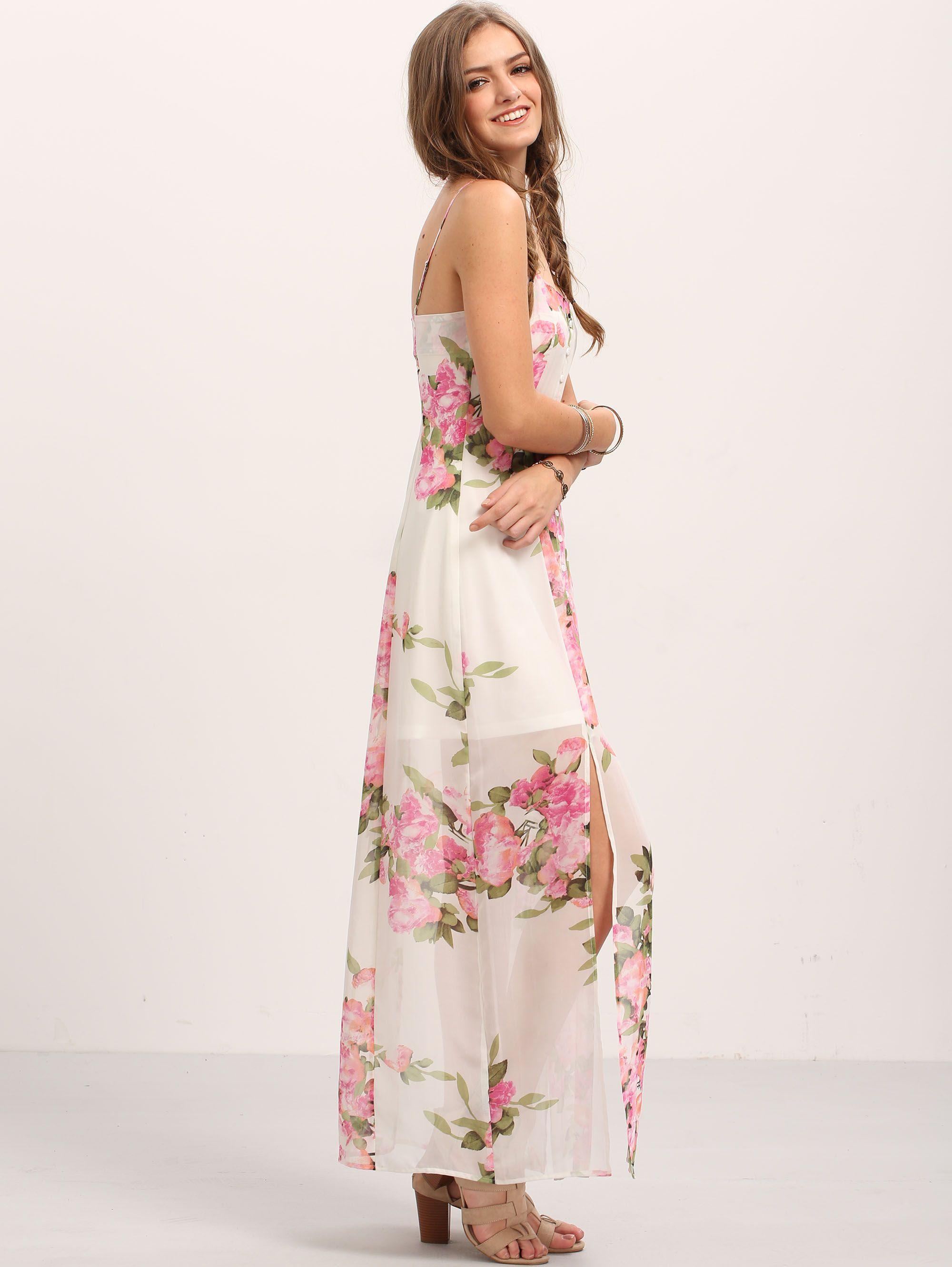 Flower print buttons maxi shein dress maxi floral