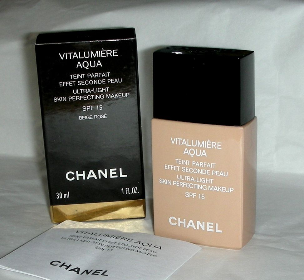 Chanel Vitalumiere Aqua Ultra Light Skin Perfecting Makeup 12 Beige Vitalumire Spf 15 Rose Spf15