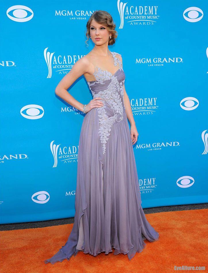 Taylor Swift Marchesa Chiffon Embroidered Draped Purple