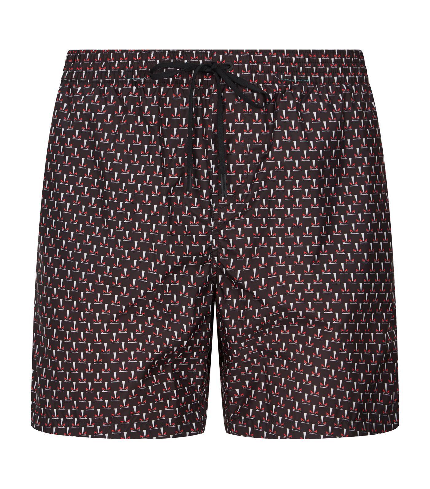 Eye Print Swim Shorts In Brown Printed swim, Swim shorts