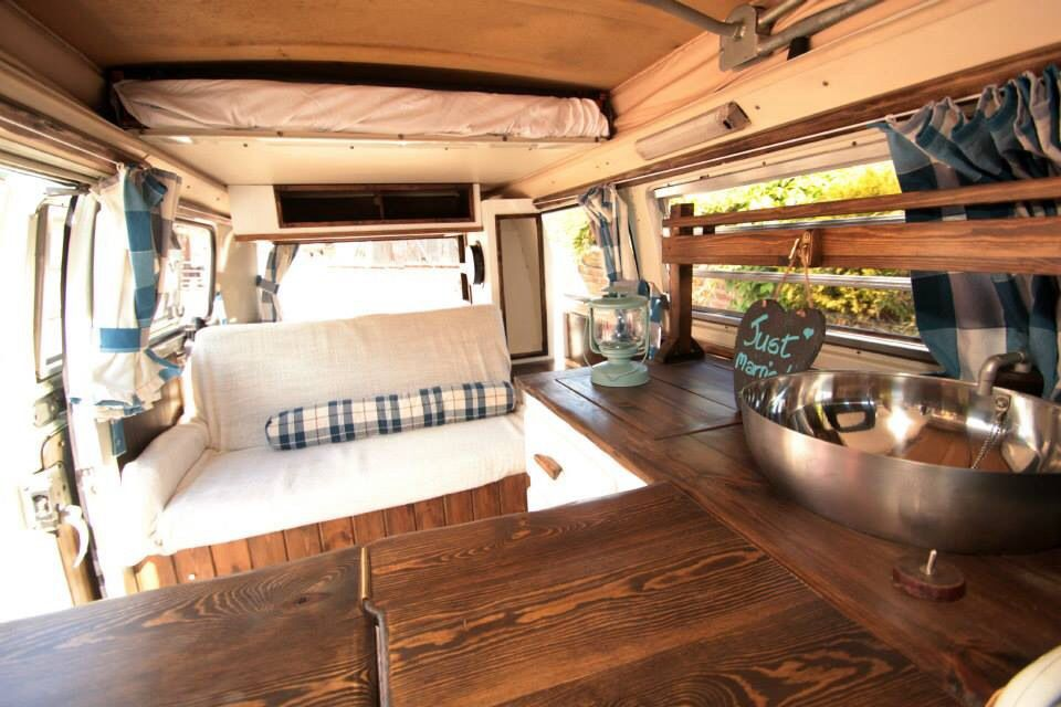 Dark Wood Interior Van With White.