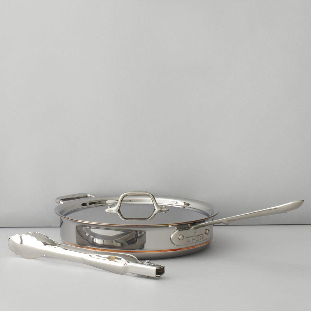 All-Clad Copper Core 3-Quart Saute Pan with Tongs Set