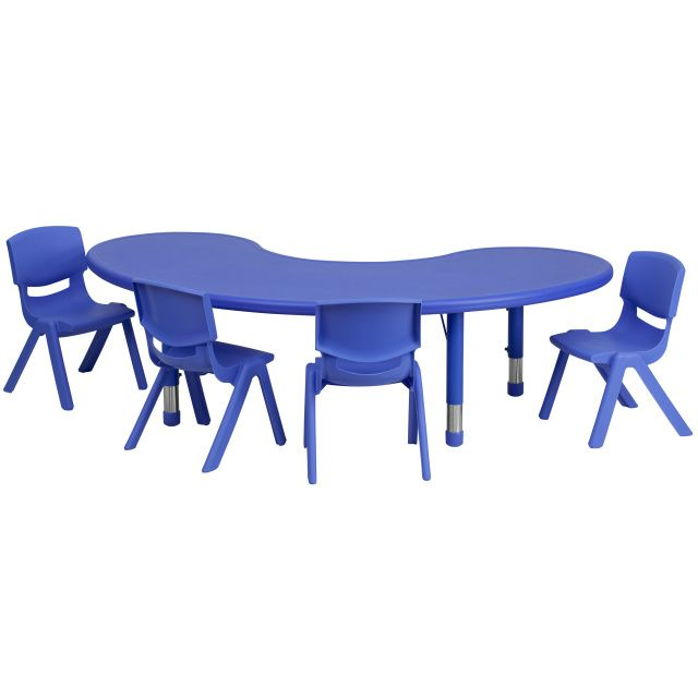 Ff Half Moon 65 Table 4 Chair 10 5 Blue Table Chair Sets Kids Table Chairs Plastic Tables