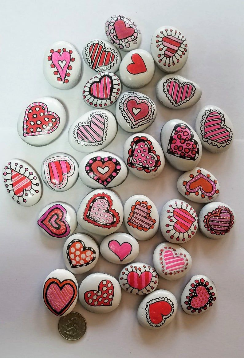 Small Decorative Heart Rocks   Hand painted Refrigerator Magnets   Perfect Valentine's Day Gift   Unique conversation heart Painted Stone  