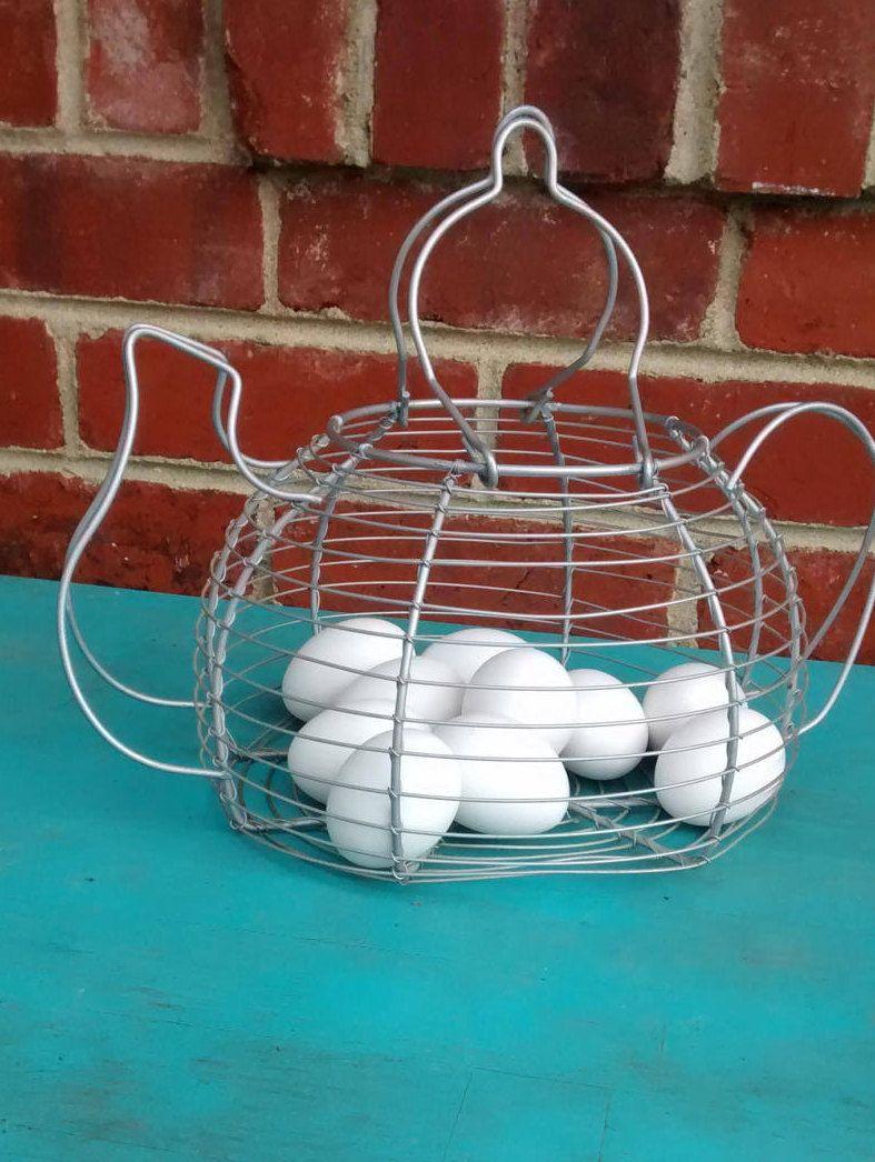 Wire tea pot basket teapot shaped egg gathering basket wire egg ...