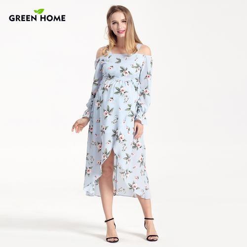 0e53989167b97 Green Home Stretch High Waist Floral Printing Maternity Dress Shoulderless Pregnant  Women Fresh Pregnancy Dresses Maternity